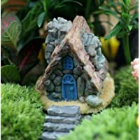 Vi.yo Musgo suculento Micro Paisaje - Mini casa de Piedra Fairy Cottage Landscape Decor