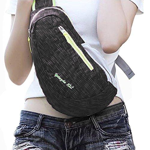 FakeFace Unisex Wasserdicht Nylon Brusttasche Cross-Body Tasche Bag Schultertasche Umhängetasche für Reise Freizeit Sports Wandern Outdoor Schwarz