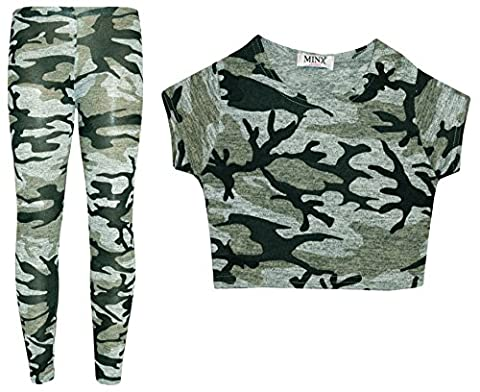 Girls Camouflage 2 Piece Crop Top & Legging Set Outfit Kids Clothes 7-13 Years (9-10 years)