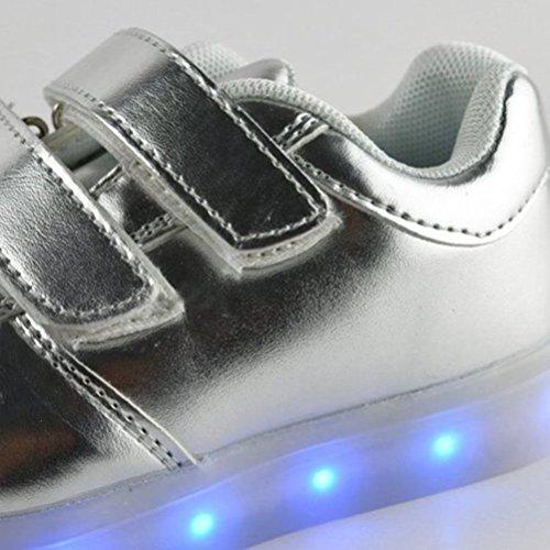 (Present:kleines Handtuch)JUNGLEST® Unisex USB Charing LED leuchten Kinder Luminous Silber