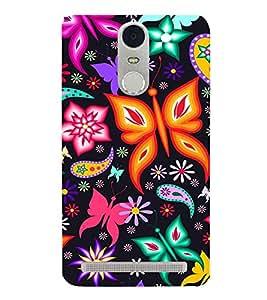 PrintVisa Butterfly Flower Pattern 3D Hard Polycarbonate Designer Back Case Cover for Lenovo K5 Note :: Lenovo Vibe K5 Note Pro
