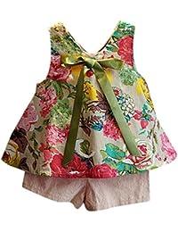 Vestidos niñas, Switchali Niños Bebé Niña Verano moda blusas chaleco floral camisa + bowknot Pantalones cortos Conjunto de ropa de fiesta para chica casual linda blusa barato