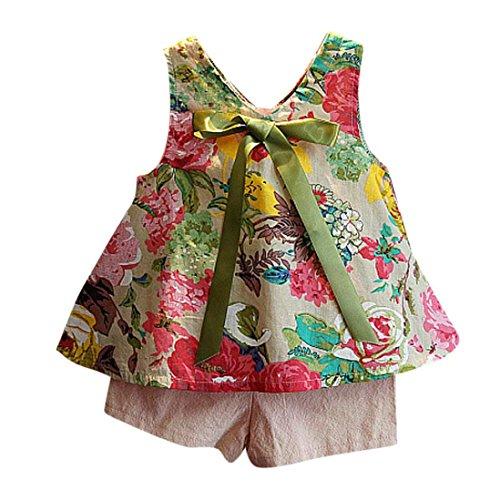 Vestidos niñas, Switchali Niños Bebé Niña Verano moda blusas chaleco floral camisa + bowknot Pantalones cortos Conjunto de ropa de fiesta para chica casual linda blusa barato (15 (6~7años))