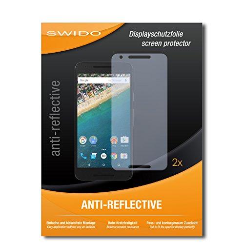 SWIDO® Schutzfolie für LG Nexus 5X [2 Stück] Anti-Reflex MATT Entspiegelnd, Hoher Härtegrad, Schutz vor Kratzer, Folie, Bildschirmschutz, Bildschirmschutzfolie, Panzerglas-Folie