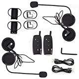 Fodsports 2x Weatherproof BT Motorcycle Snowmobile Multi Interphone Motorbike Handsfree Intercom for Sports Helmet Bluetooth Headset Ski ATV 500m