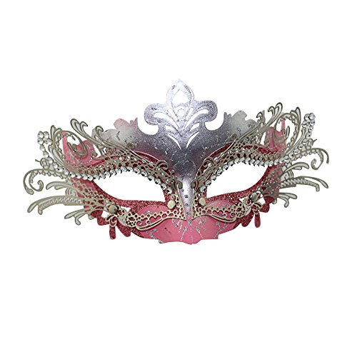 e für Bälle, Party, Laserschnitt-Metall, filigrane venezianische Maskerade mit Strasssteinen Gr. Einheitsgröße, Pink+Sliver (Phantom Der Oper Maskerade Kostüme)