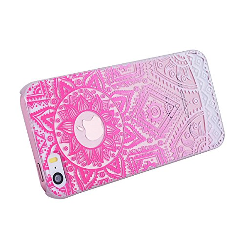 GrandEver iPhone SE Hartschale Hülle, iPhone 5S 5 Hardcase Transparent Schutzhülle mit Weiß Mandala Indische Sonne Design Muster Handyhülle Hartcase Hartplastik Tasche Schutz Etui Protective Smart Cov Rot