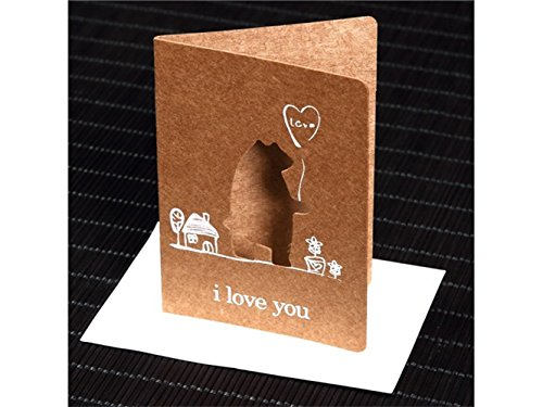 (kelaina Dedicated Hohl Stil Animal Paint Papier Karte Geburtstag Hochzeit Party Jahrestag Grußkarten (Bär))