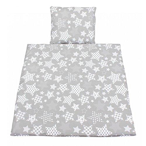 TupTam Unisex Baby Wiegenset 4-teilig, Farbe: Sterne Grau, Größe: 80x80 cm