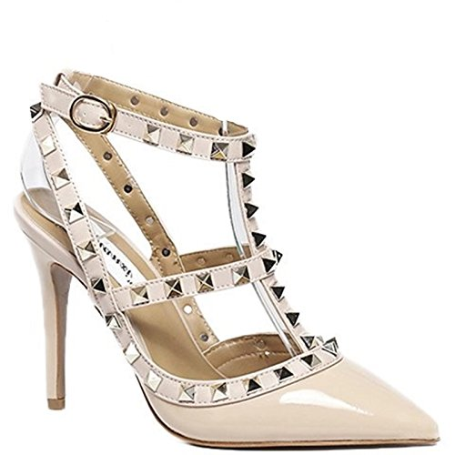 King Of Shoes Elegante Damen Riemchen Abend Sandaletten High Heels Pumps Lack Stilettos Schuhe GH2 (39, Beige)