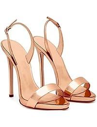 161b0fc64ce XXM-Shoes Sandalias de tacón Alto con Sandalias Finas Cabeza Redonda Mujer  Zapatos cómodos y