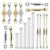 Beinhome 22 Stück Magnetische Schmuckverschlüsse und Halskette Extenders Gold Silber, Mehrere Größen und Stile Kettenverlängerer Magnetverschlüsse für Halsketten Armbänder