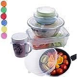 ZeWoo 6 Pack Las Tapas de Silicona y Alimentos Bowl + 6 Pack Tapa para Botella , Estiramiento de Cubierta del Abrigo para Tazas, Latas, Cuencos y Tarros de Albañil