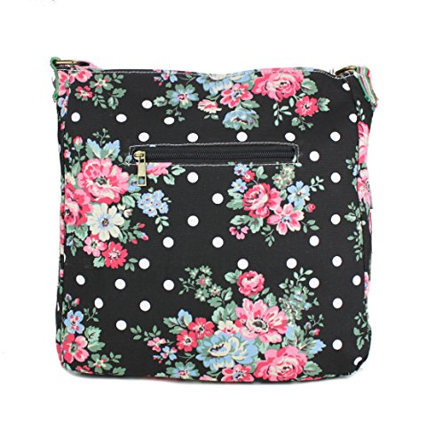 Miss Lulu Sacoche en toile Noir - Flower Black