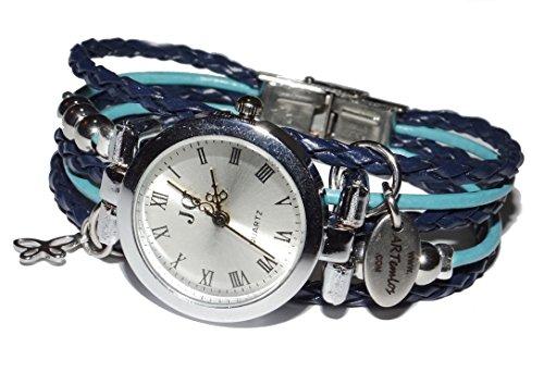ARTemlos® Handmade Damen-Uhr aus Edelstahl, Metall und Leder in blau/türkis