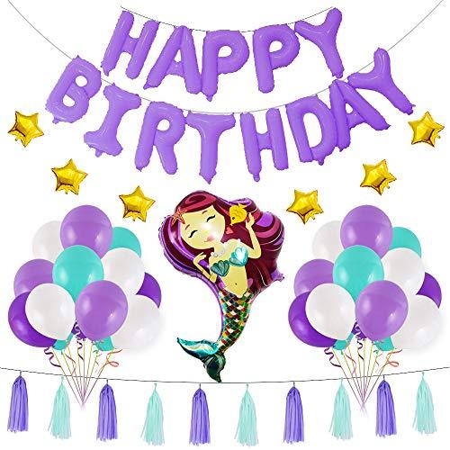 Meerjungfrau Partydekoration 49pcs Geburtstagsparty Supplies Favor Games Kit Pom Poms Papier Quaste Ballons für Meerjungfrau Geburtstag Baby Shower unter dem Meer Party Supplies