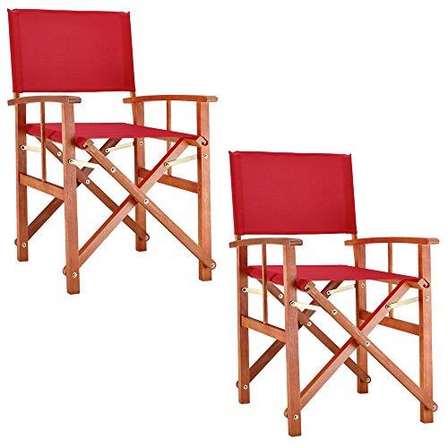 Deuba® 2X Gartenstuhl Cannes | FSC®-zertifiziertes Eukalyptusholz faltbar | Klappstuhl Holz Stuhl Regiestuhl Rot