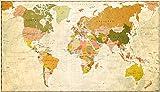 Weltkarte als XXL Poster im Retro-Style, 140x80 cm Panorama Landkarte im beigen Design, Hochwertige Vintage-Worldmap als Wandbild