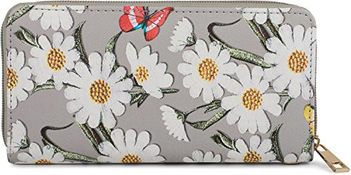 styleBREAKER Geldbörse mit Blumen Blüten und Schmetterling Muster, Reißverschluss, Portemonnaie, Damen 02040106, Farbe:Hellgrau
