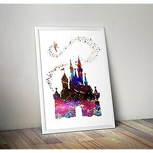 Cinderella Castle inspirierte Aquarell Poster – Zitat – Alternative TV/Movie Prints in verschiedenen Größen (Rahmen nicht im Lieferumfang enthalten)