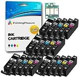 Printing Pleasure Set 20x Druckerpatronen kompatibel zu PGI-525 CLI-526 für Canon Pixma IP4800 IP4850 IP4950 MG5120 MG5140 MG5150 MG5170 MG5220 MG5250 MG5270 MG6120 MG6140 MG6150 MG6170 MG8120 MG8150