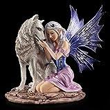 Elfen Figur - Tandra mit Wolf | Fantasyfigur, Handbemalt
