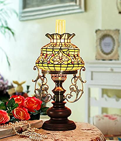 Makenier Vintage Baroque Classic Art Tiffany Style Stained Glass Oil-lamp-shaped Table Lamp, 9.5 Inches Lampshade