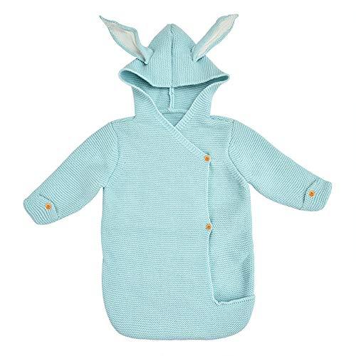 NROCF Schlafsack Baby-Langes Hülsen - Cute Baby-Kleider Neugeborene Spaziergänger Kaninchen-Ohr-Knit Schlafsack,Blau