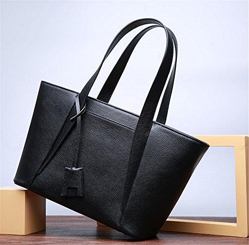 """Xinmaoyuan Borse donna trasversale di borsette in cuoio grande capacità borsetta testa di """" commuters """" strato di pelle semplice spalla borsa Messenger Borsa da donna Zipper Bag,grigio Nero"""