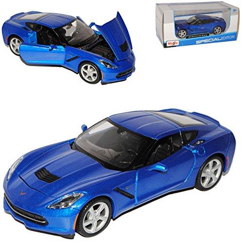 Chevrolet-Chevy-Corvette-C7-Stingray-Coupe-Mittel-Blau-Metallic-Ab-2013-124-Maisto-Modell-Auto-mit-oder-ohne-individiuellem-Wunschkennzeichen