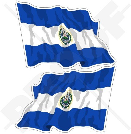 El Salvador EL-Salvador Waving Flag salvadorean, Central America 7,6cm (75mm) Bumper Sticker, Aufkleber Vinyl X2