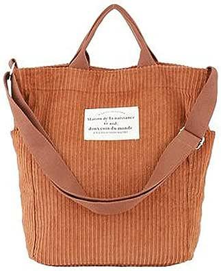 Hallolife Cord Tasche Damen Umhängetasche Shopper Casual Handtasche Einkaufstasche Chic Schulrucksack für Travel Office School Shopping Alltag, 38 x 35x 13cm