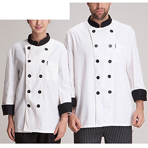 Zhhlaixing Simplicity White Chef Uniform Unisex Classic Work Clothes Long Sleeve white