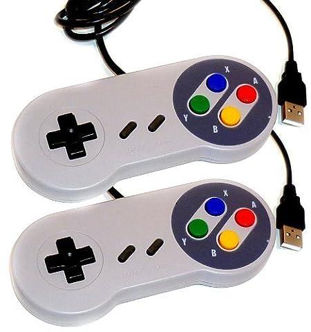 Kabalo 2 x remplacement USB Gamepad Joypad Contrôleur de jeu Super Nintendo SNES console de jeu Conception [2 x Replacement USB Gamepad Joypad Gaming Controller Super Nintendo SNES Game Console Design]