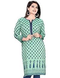 Plus Size Kurtis Women's A-Line Kurta(AM418-XL_Turquoise_42)