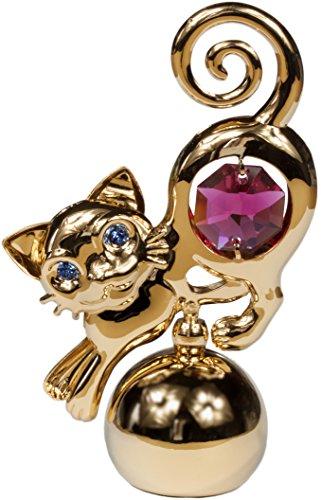 Kristall Glas Katze rot 24 goldüberzogen MADE WITH SWAROVSKI ELEMENTS