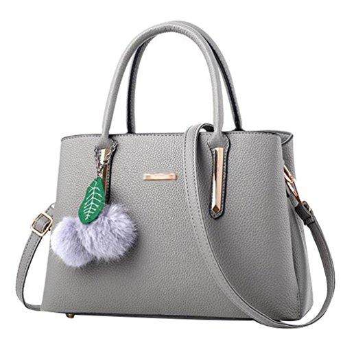 Baymate Mode Handtasche Tragetasche Damen PU Leder Messenger Bags Licht Grau