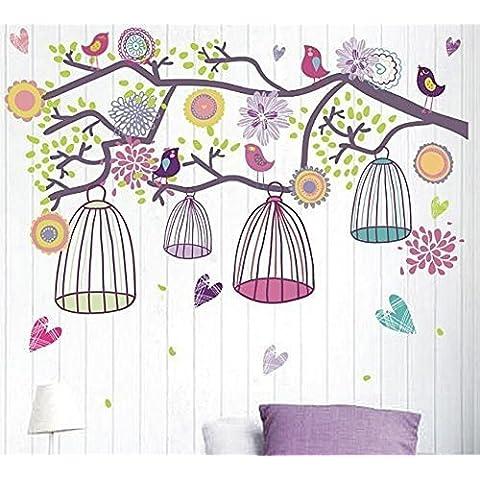 Hanmero DIY Vinilos personalizados Pegatina Decorativa Infantil Adhesiva Para Pared Dibujos Animados pájaros en un gran árbol, flores y jaula