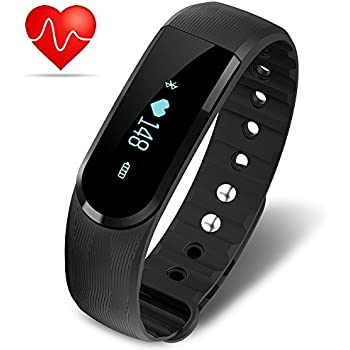 Minhe Fitness Activity Tracker with Heart Rate Monitor ID101 Bluetooth 4.0 Waterproof Smart Pedometer Bracelet for iPhone & Android (Black)