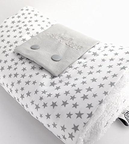 Dea-concept Tapis à langer pliable coton blanc avec étoiles argentées et éponge