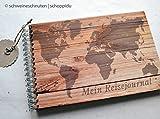 Reisetagebuch DIN A5 Weltkarte Holzdesign