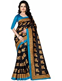 Saree(Women's Clothing Saree For Women Latest Design Wear Sarees New Collection In Black And Gajri Bhagalpuri...