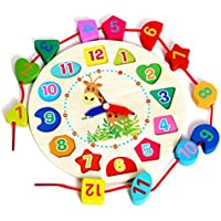 SALE! Wooden Teaching Clock Puzzle Clock Toys, GreatestPAK Colourful Toddler Infant Intelligence Educational Toy with Numbers and Shapes Sorting Blocks