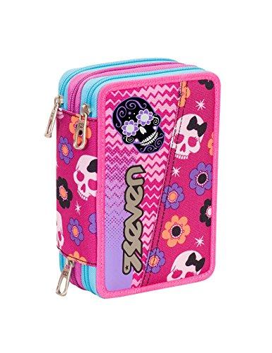 Astuccio scuola seven - mexi girl - 3 scomparti - pennarelli matite gomma ecc.. rosa