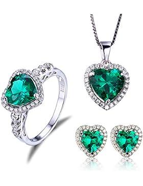 Jewelrypalace Schmuck Set Liebe Herz Grün Luxus Simulierte Nano Russisch Smaragd Anhänger Halskette 45cm Box Kette...