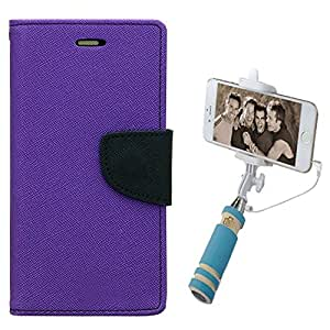 Aart Fancy Diary Card Wallet Flip Case Back Cover For Samsung 7102 - (Purple) + Mini Aux Wired Fashionable Selfie Stick Compatible for all Mobiles Phones By Aart Store