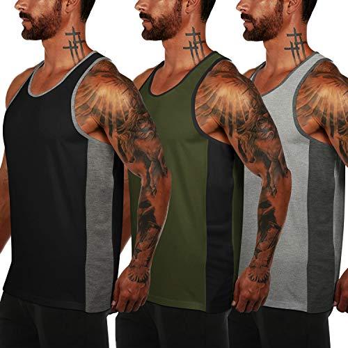 COOFANDY Tank top Herren 3er Pack Fitness Muskel Shirt Bodybuilding Training Sport ärmelloses T-Shirt Schwarz Grau Grün -
