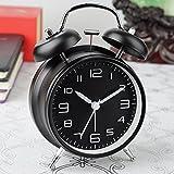 silenzioso retroilluminazione allarme doppia campana orologio al quarzo orologio non ticchettio comodino (nero)