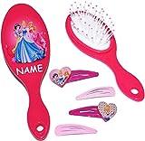 Unbekannt Set: Haarbürste + 4 Stück Haarspangen -  Disney Princess - Prinzessinnen  - incl. Name - für Mädchen / Kinder - Schmuck Haarschmuck - Blumen rosa Accessoire..