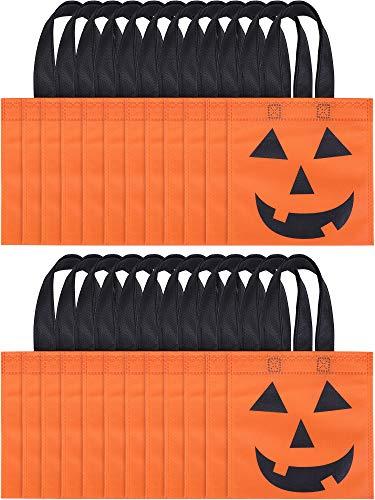 Boao 24 Stück Halloween Tragetaschen Jack-O-Lantern Kürbistüten Nicht-gewebt Süßigkeitentasche Süßes oder Saures Taschen für Halloween Party Favors
